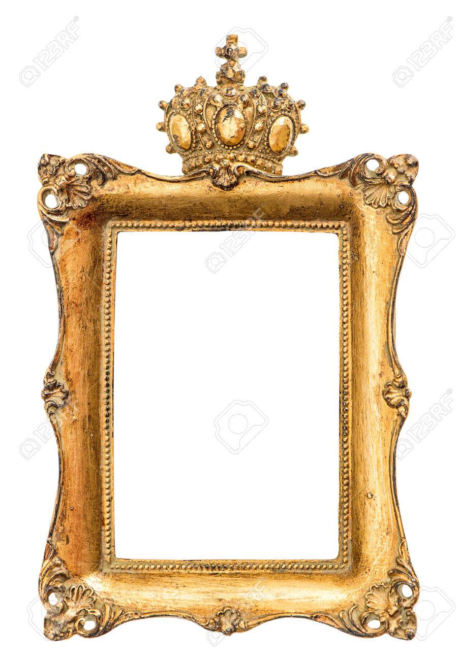 Golden Baroque Picture Frame Isolated On White Background. Vintage ...