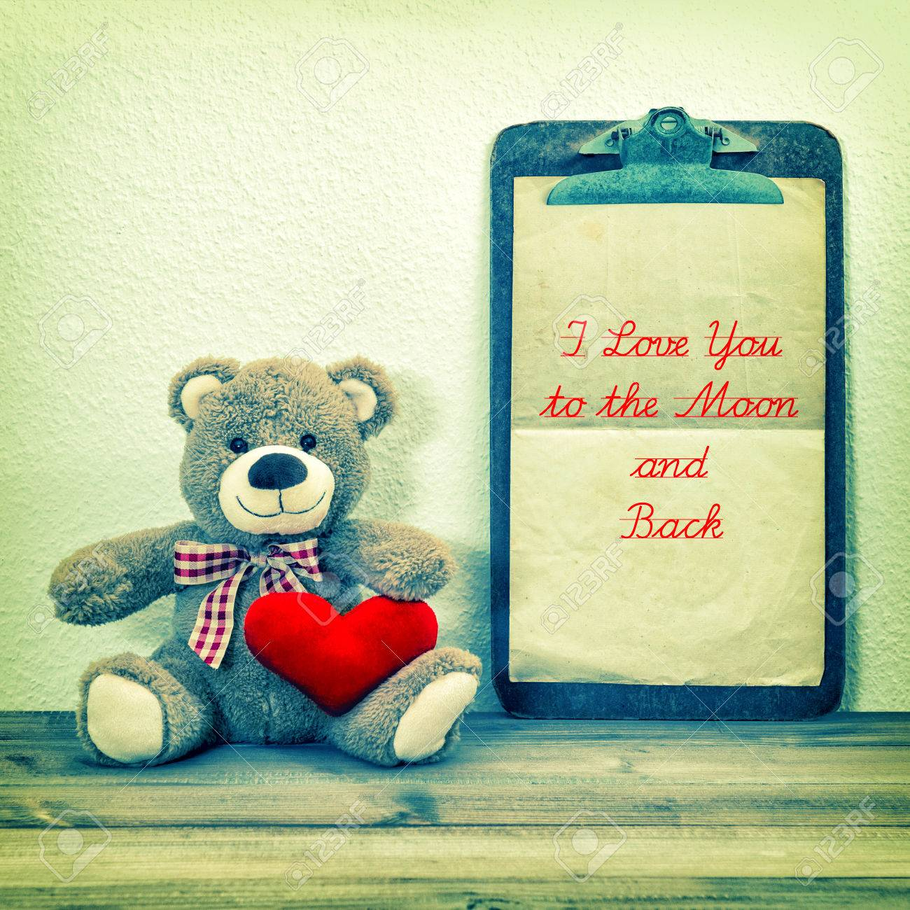 Teddy Bear With Red Heart And Clipboard Valentines Day Background