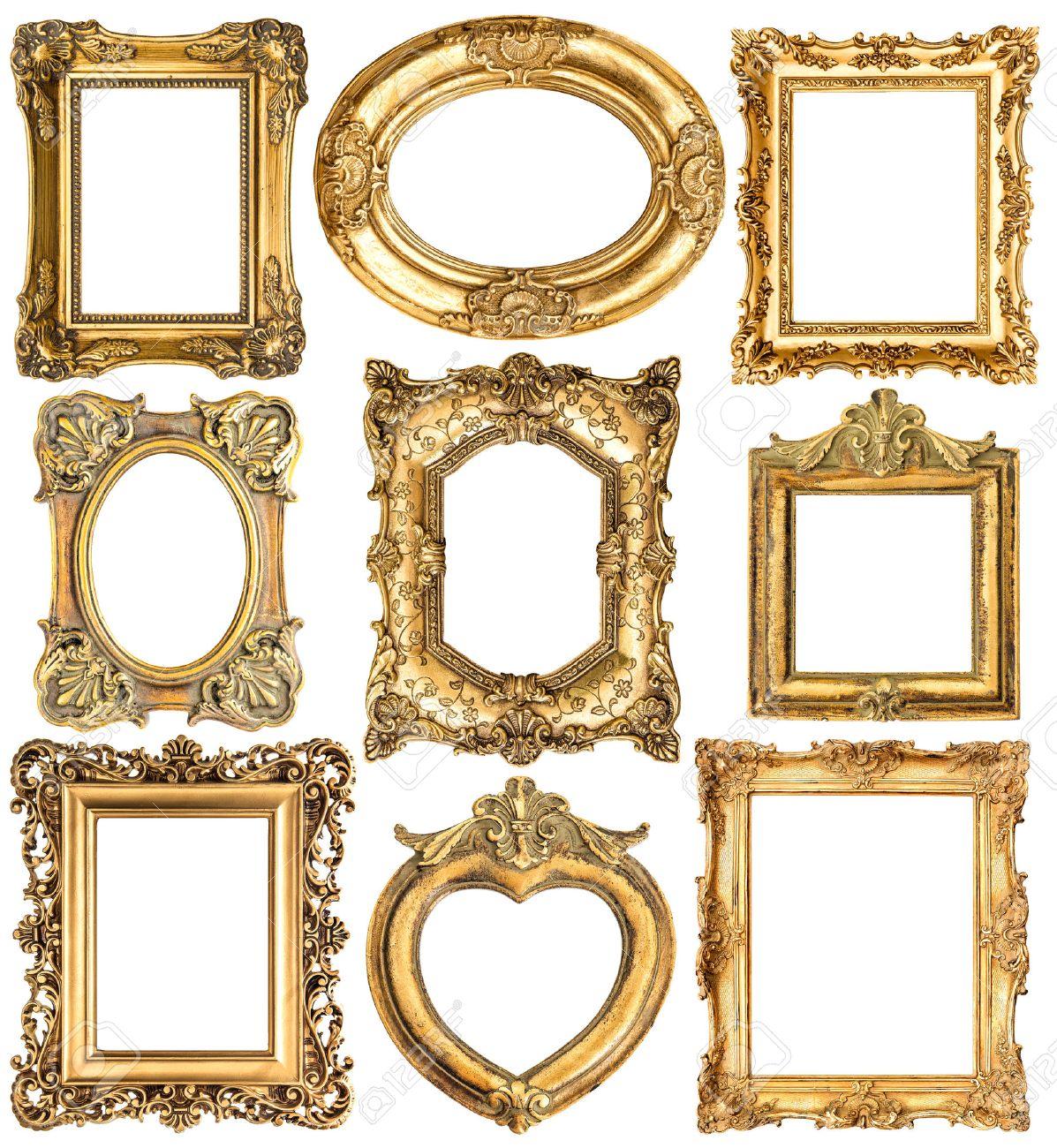 Goldenen Rahmen Auf Weißem Hintergrund Lizenzfreie Fotos, Bilder Und ...
