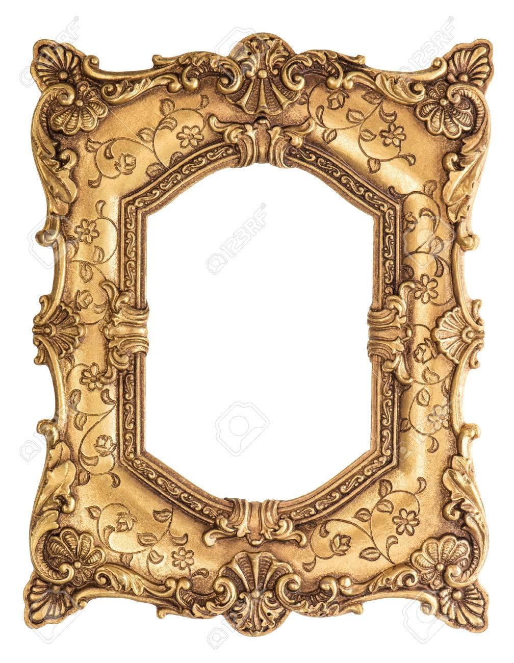 Goldener Rahmen Auf Weißem Hintergrund. Barock-Stil Antike Objekt ...