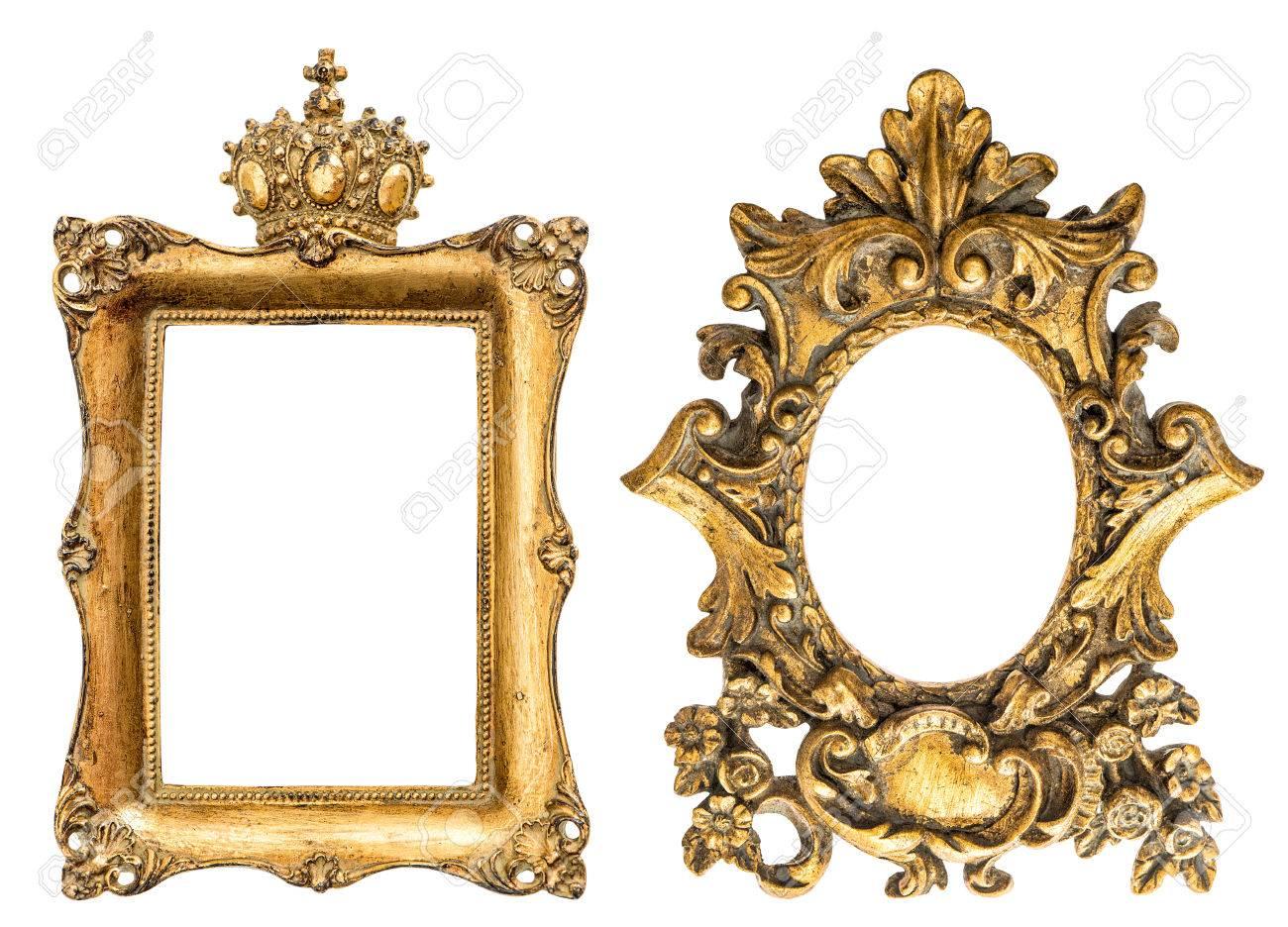 Barock-Stil Goldenen Bilderrahmen Auf Weißem Hintergrund. Vintage ...