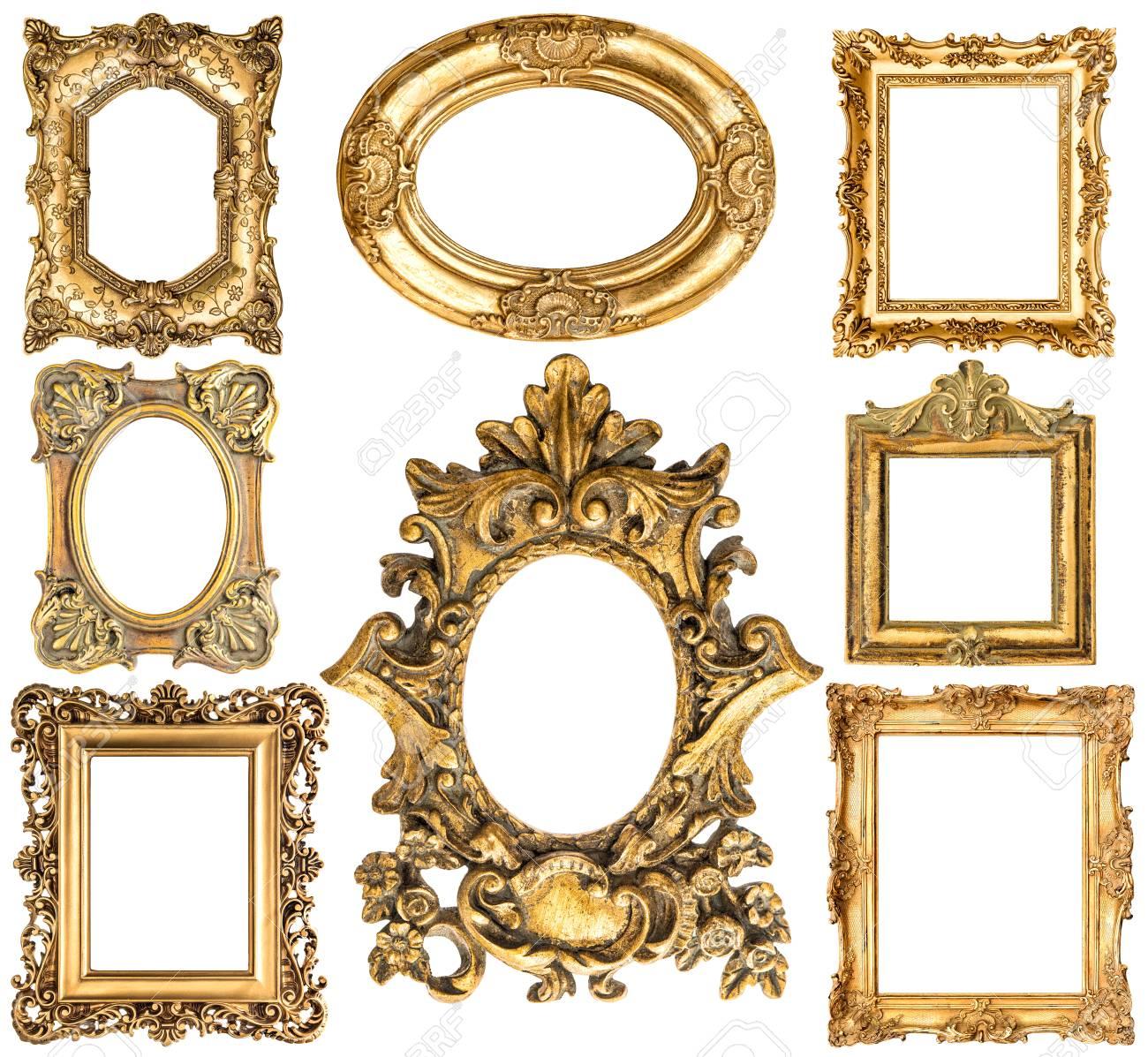 Goldene Rahmen Auf Weißem Hintergrund. Barock-Stil Antike Objekte ...