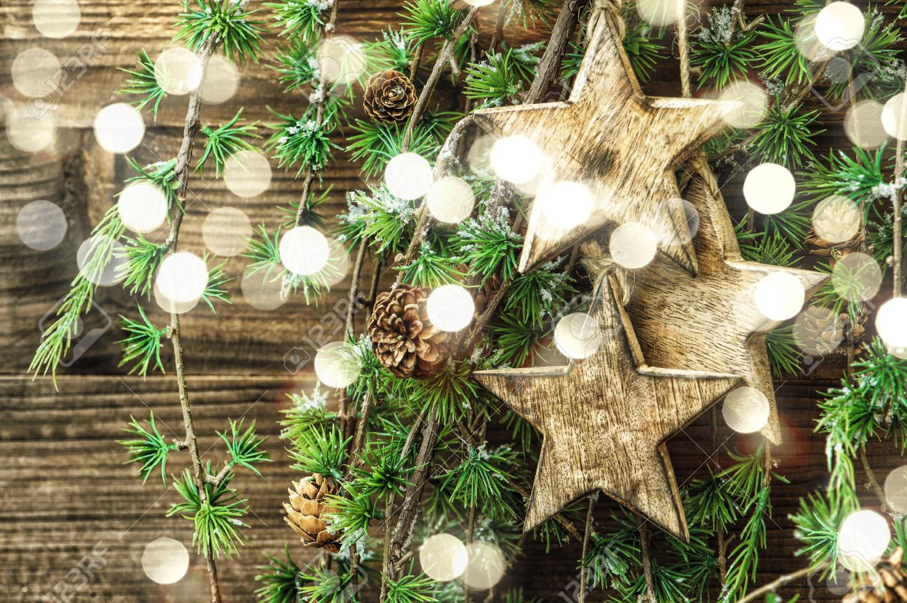 Pine Branches For Decoration Christmas Still Life Wooden Ornaments And Pine Tree Branches