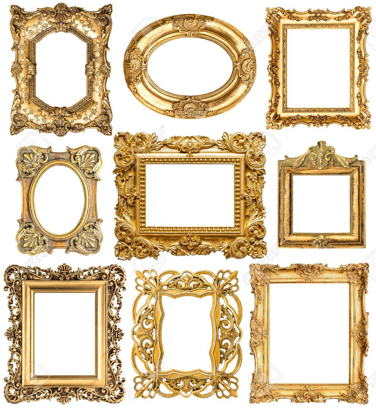 Goldenen Rahmen Auf Weißem Hintergrund. Barock-Stil Vintage-Objekte ...