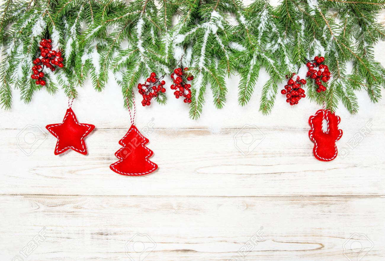 Christmas Tree Border With Red Decorations Winter Holidays Background Stock Photo