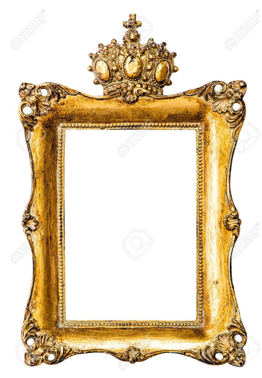 Barock Goldener Bilderrahmen Mit Krone Auf Weißem Hintergrund ...