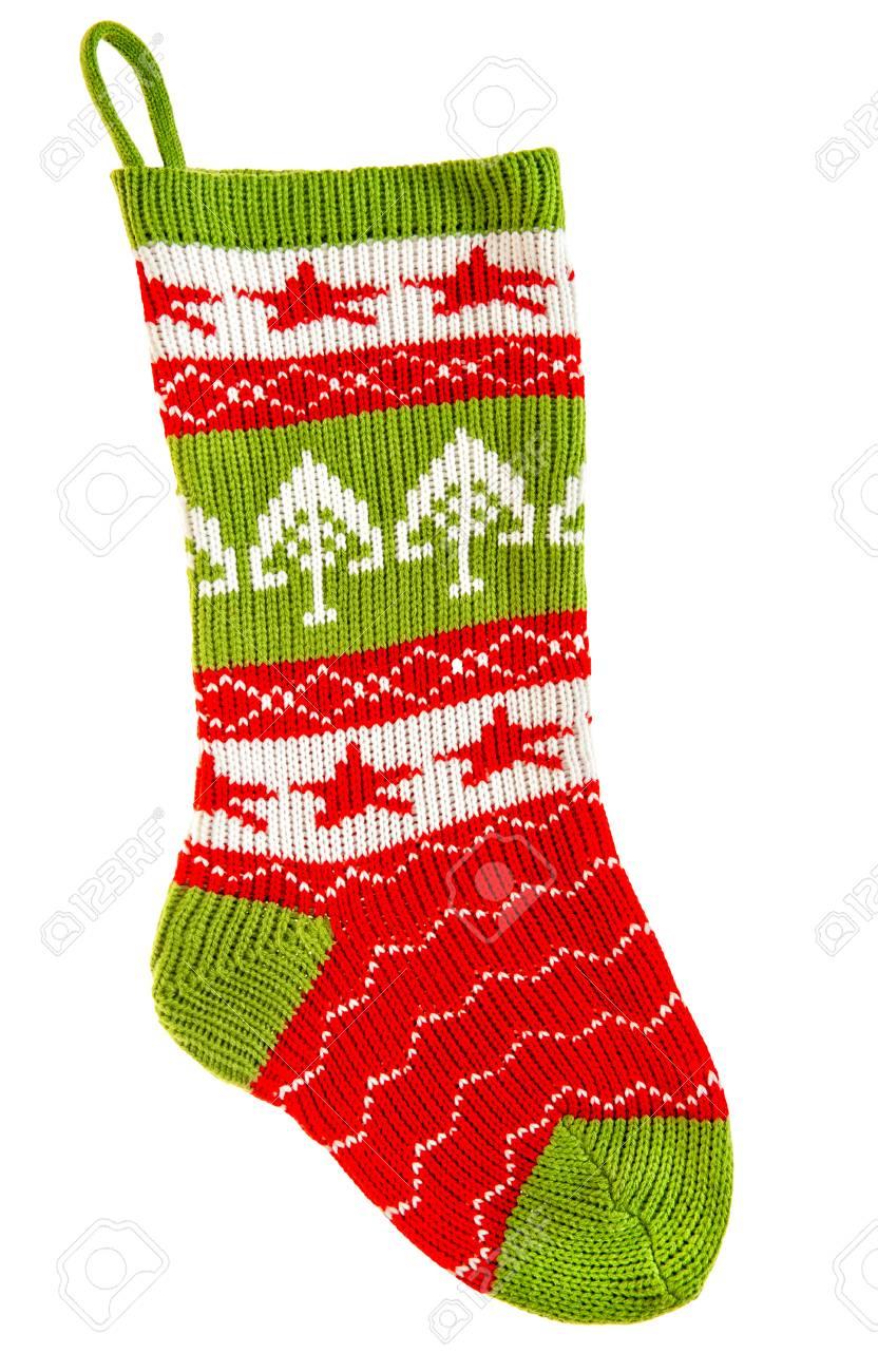 Gestrickte Socke Für Die Geschenke Getrennt Auf Weißem Hintergrund ...