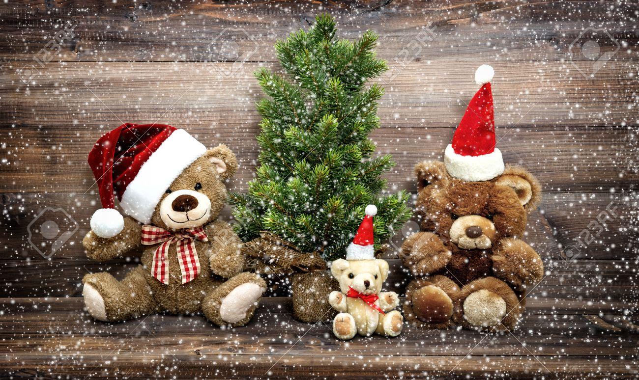Christmas Bear.Christmas Decoration With Funny Toys Teddy Bear Family Vintage