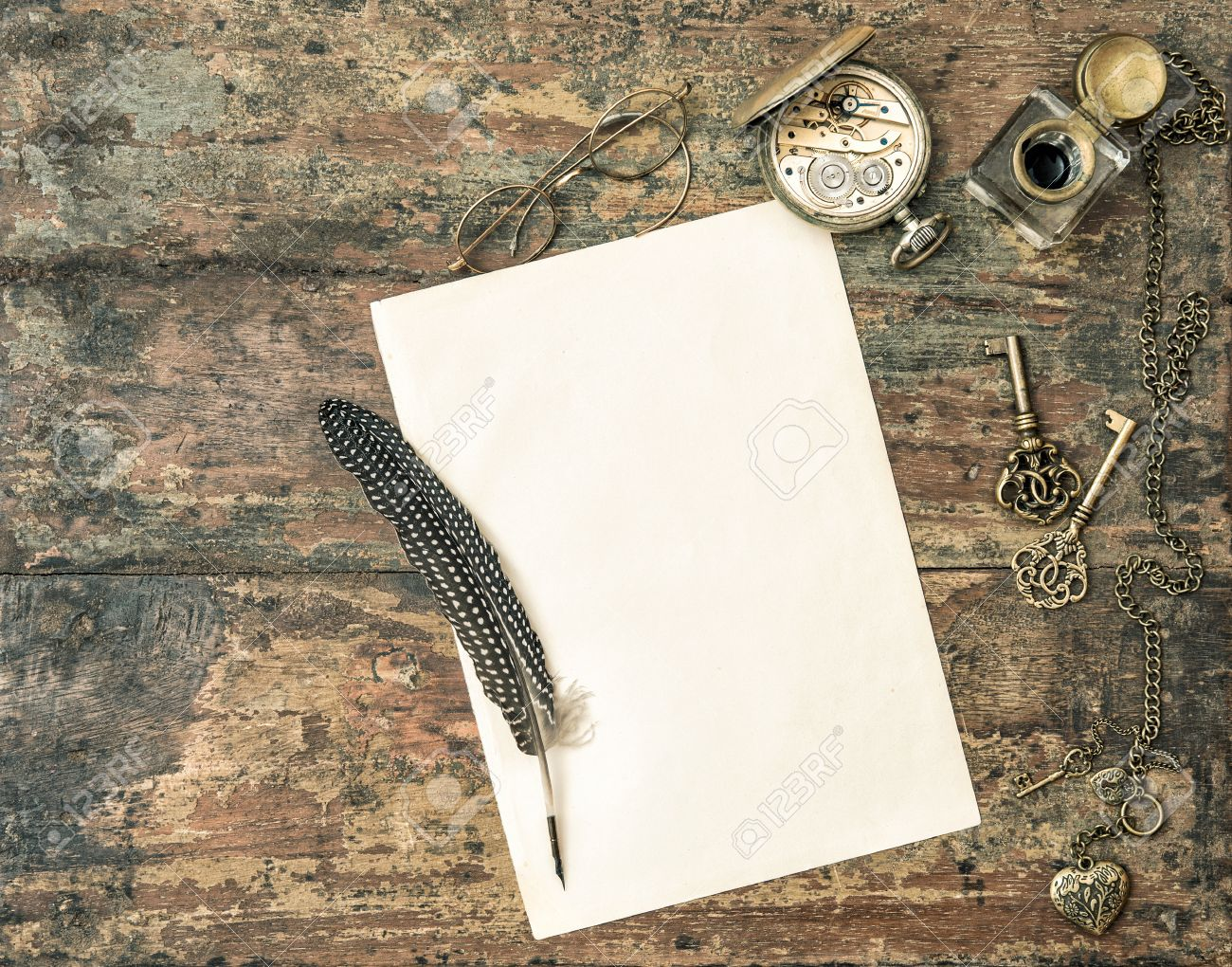 vintage writing paper and pen photo