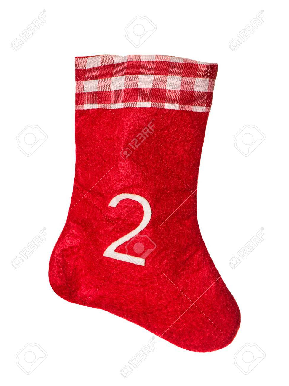 Rote Weihnachtssocke Für Geschenke Auf Einem Weißen Hintergrund ...