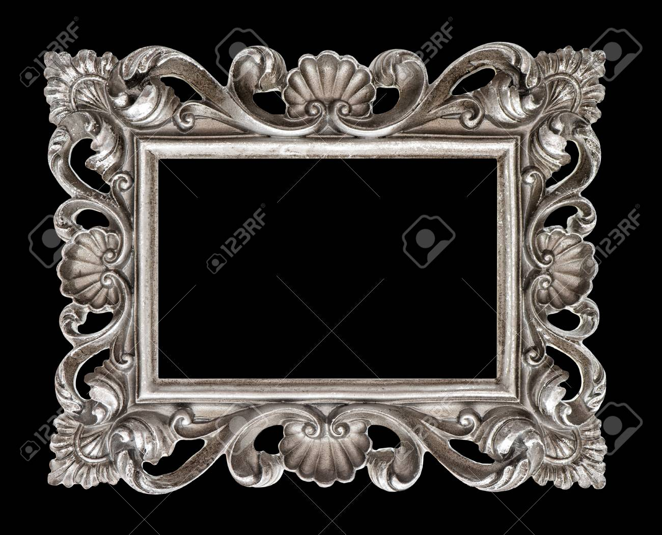 stock photo vintage silver baroque style picture frame isolated over black background
