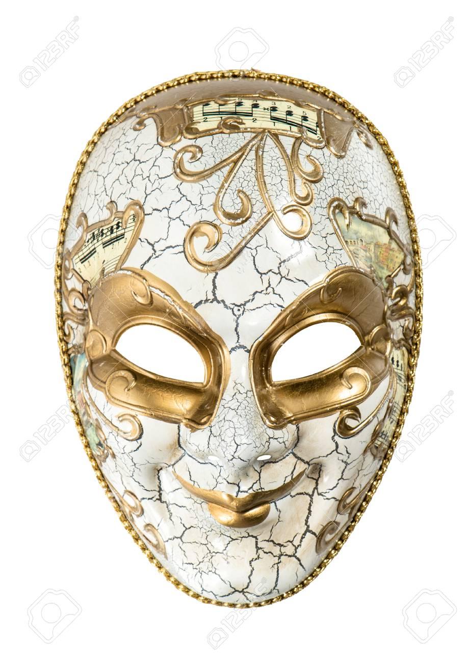 Carnaval Masque Arlequin Isolé Sur Fond Blanc Mardi Gras Banque D