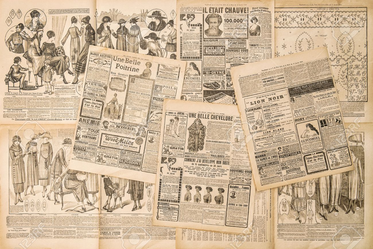 Newspaper pages with antique advertising. Fashion magazine for woman - 52549825