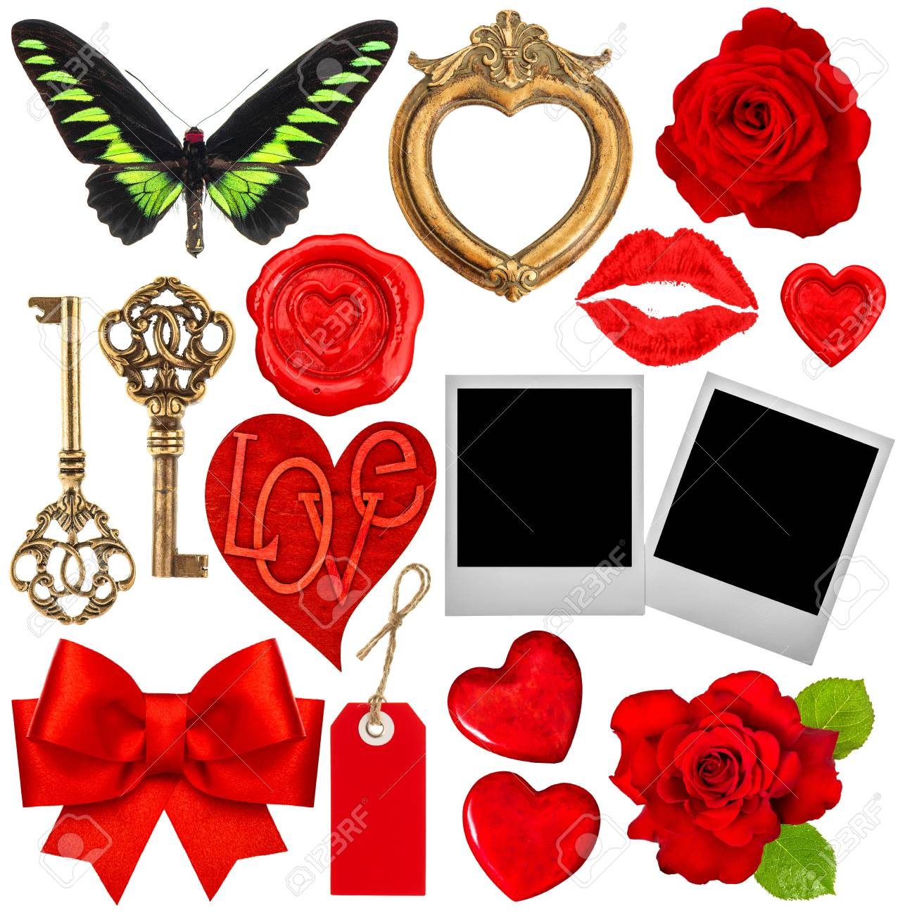 Valentines Day Scrapbook. Red Hearts, Lips Kiss, Photo Frames ...