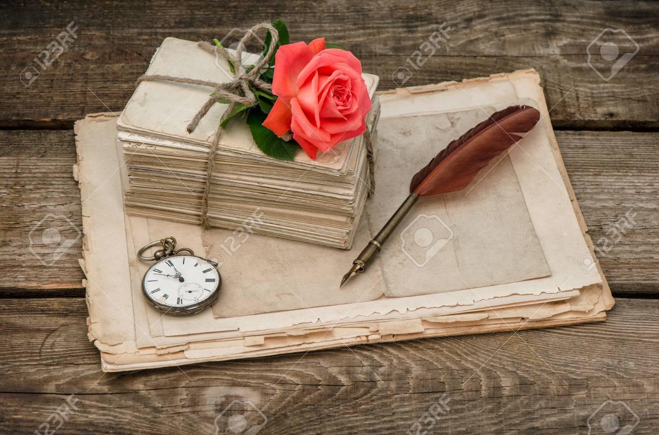 Old Love Letters And Red Rose Flower. Vintage Sentimental Background ...