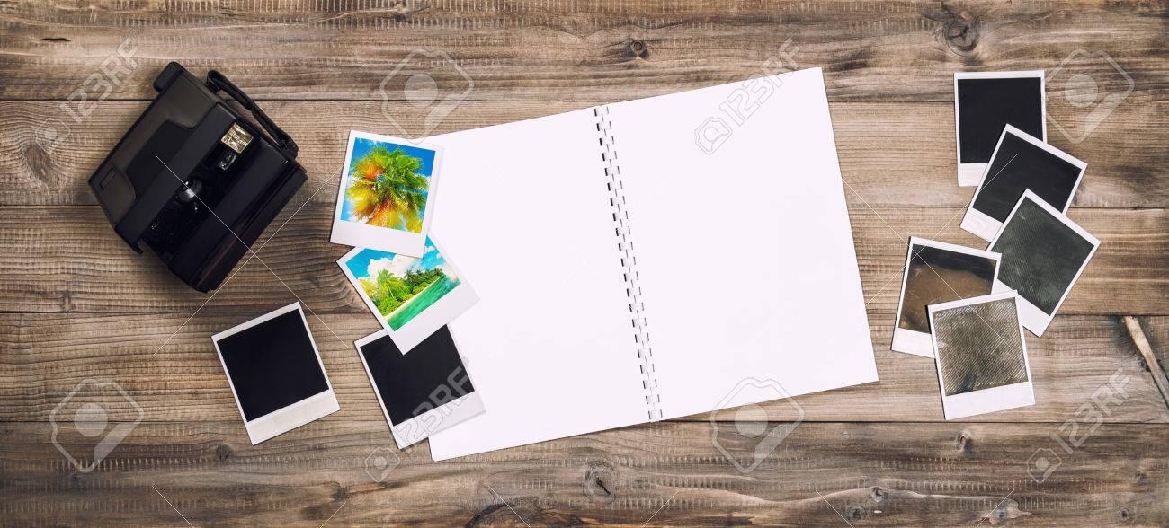 Open Photo Album Book, Camera, Polaroid Frames. Retro Toned Picture ...
