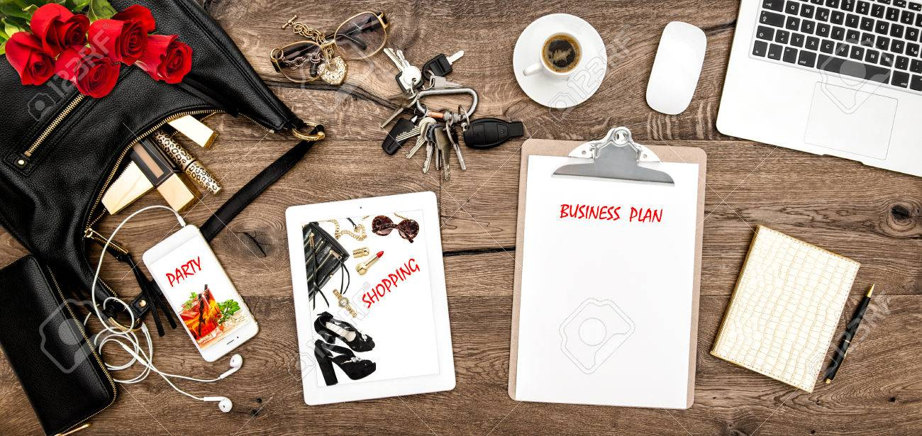 feminine office supplies. Feminine Fashion Mockup. Office Desk With Coffee, Supplies, Red Roses. Online Supplies F