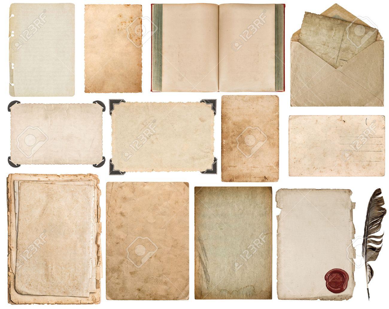 Blatt Papier, Buch, Umschlag, Karton, Fotorahmen Mit Ecke Auf Weißem ...