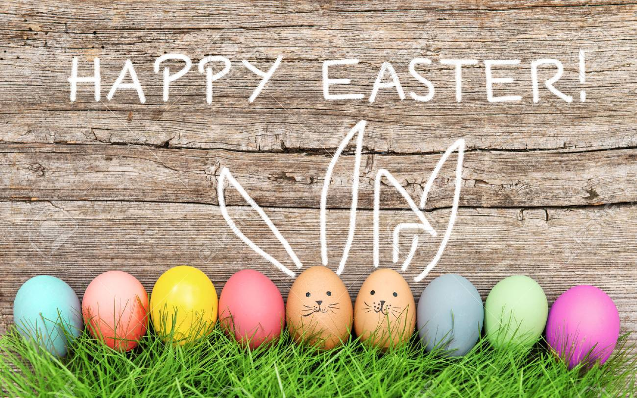 Easter eggs and cute bunny in green grass. Festive decoration. Happy Easter! Banque d'images - 53519498