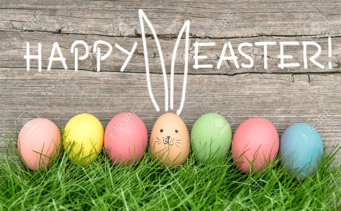 Ostereier Und Süße Hase Lustige Feiertagsdekoration Frohe Ostern