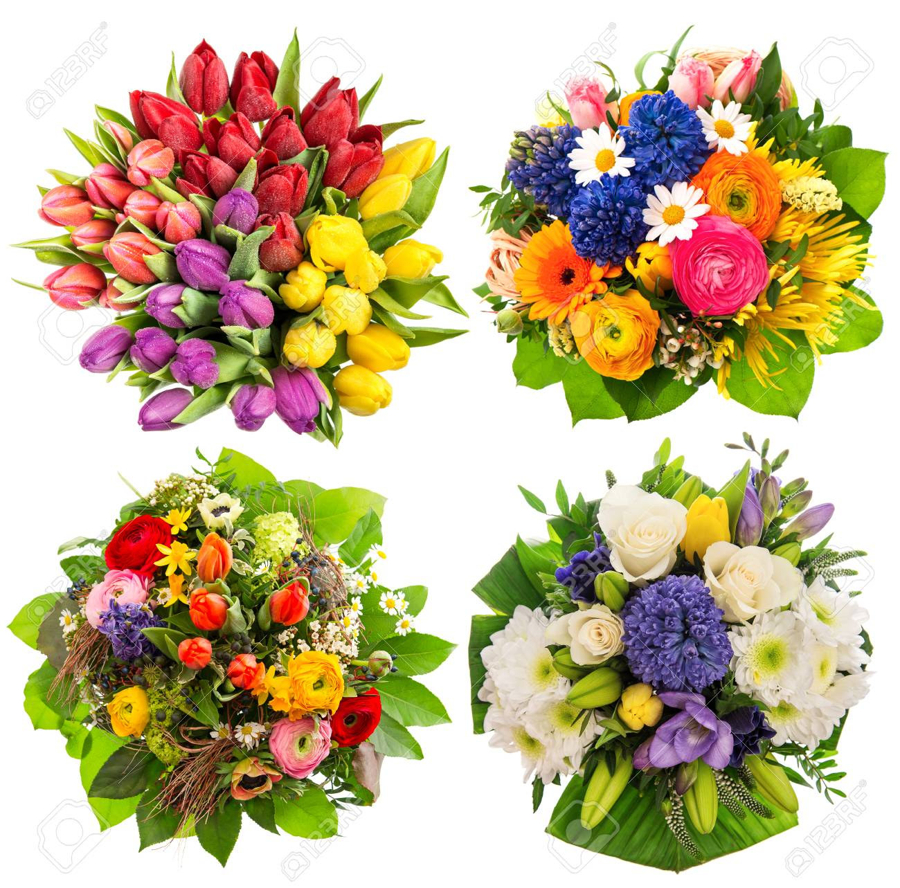 Colorful Flower Bouquets For Birthday, Wedding, Mothers Day,.. Stock ...