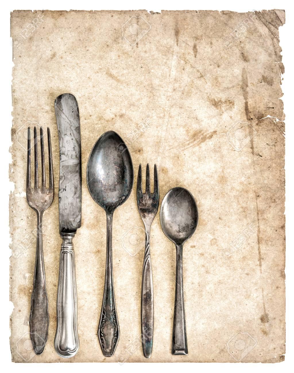 Antikes Besteck Und Alte Kochbuchseite Retro Kuchengerate Messer