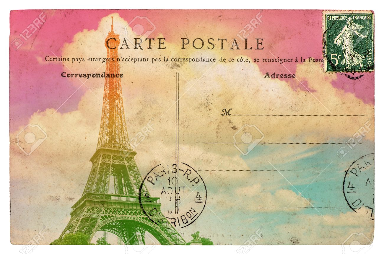 Carte Postale Retro vintage styled french postcard eiffel tower paris. retro toned