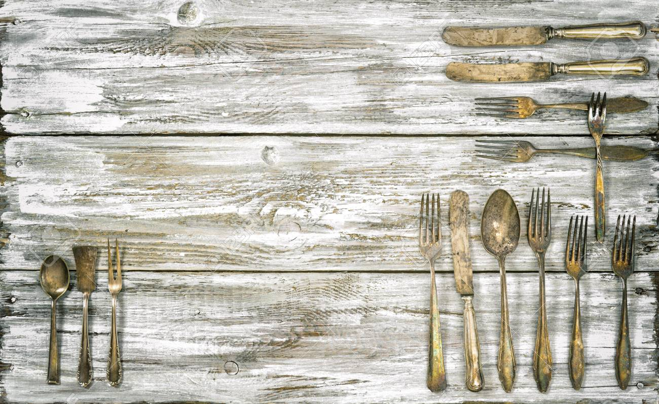 Antique Cutlery On Rustic Wooden Background. Retro Kitchen Utensils ...