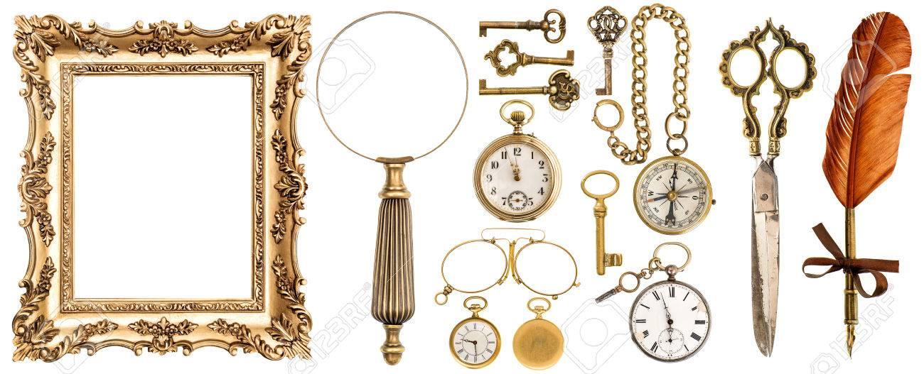 Colección De Accesorios De época De Oro Y Objetos Antiguos. Viejos ...