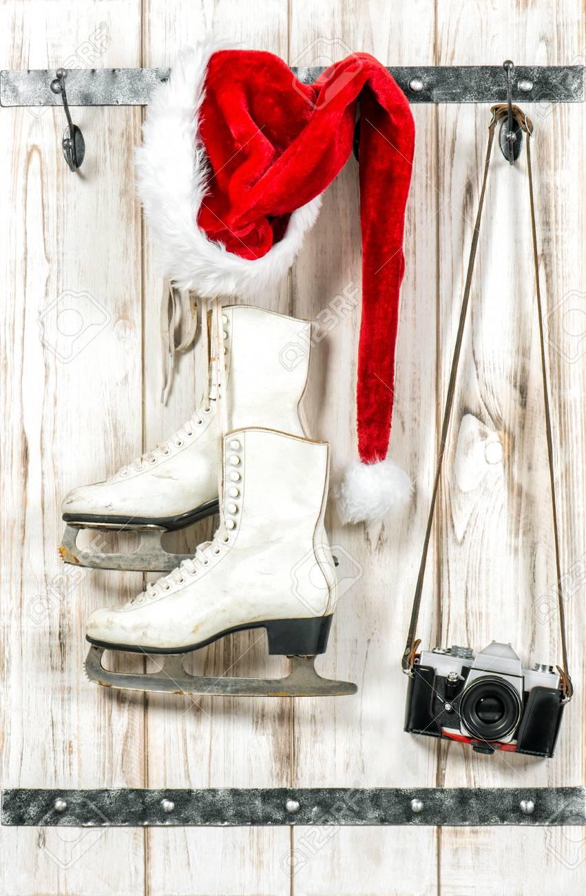 Christmas Decoration. Red Santas Hat, Vintage Photo Camera And ...