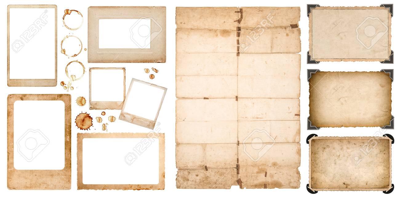 Aged Bilderrahmen, Verwendet Gefalteten Blatt Papier Und Kaffee ...