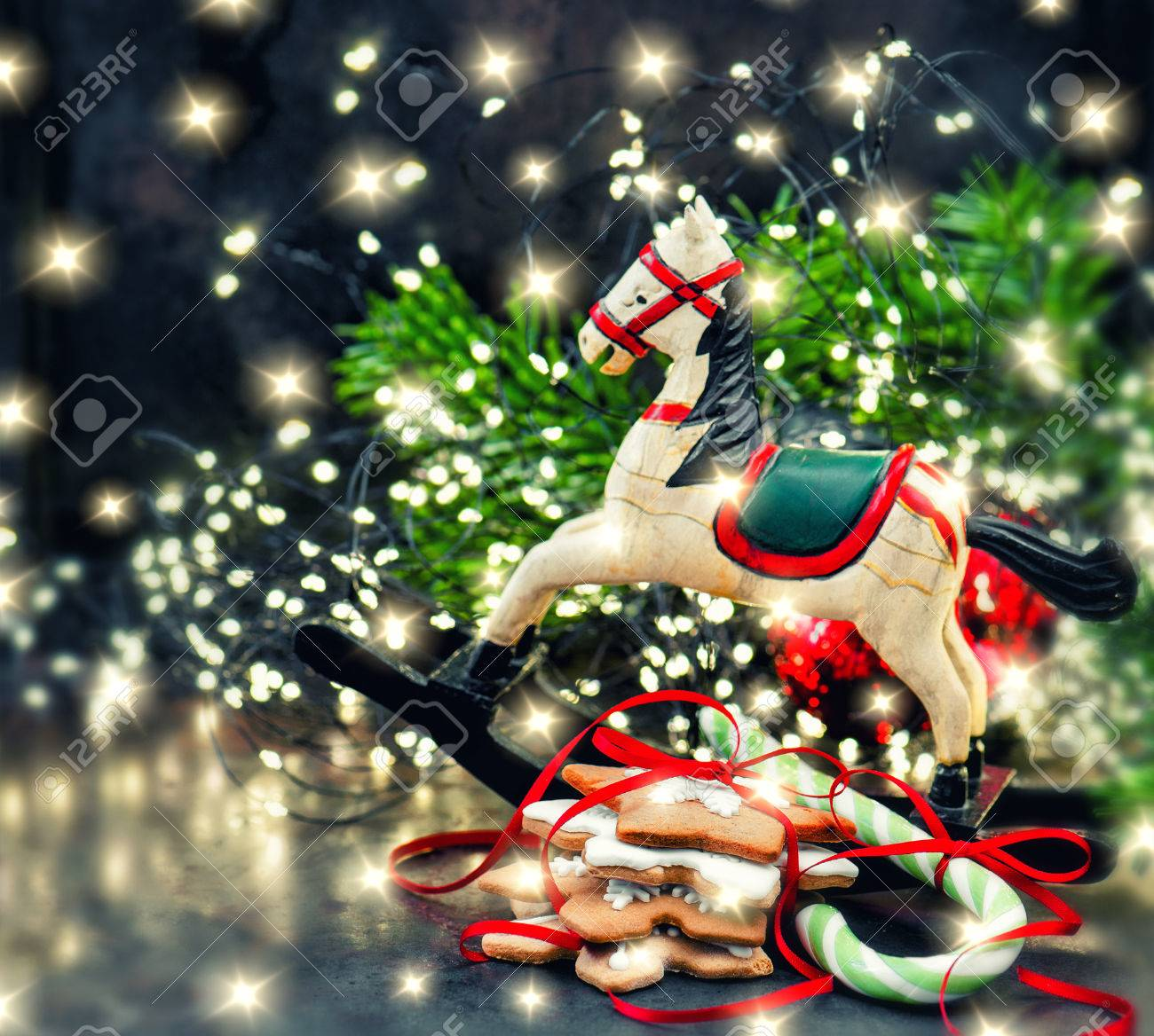 Christmas Lights Decoration Rocking Horse And Cookies Vintage Stock Photo Picture And Royalty Free Image Image 70506491