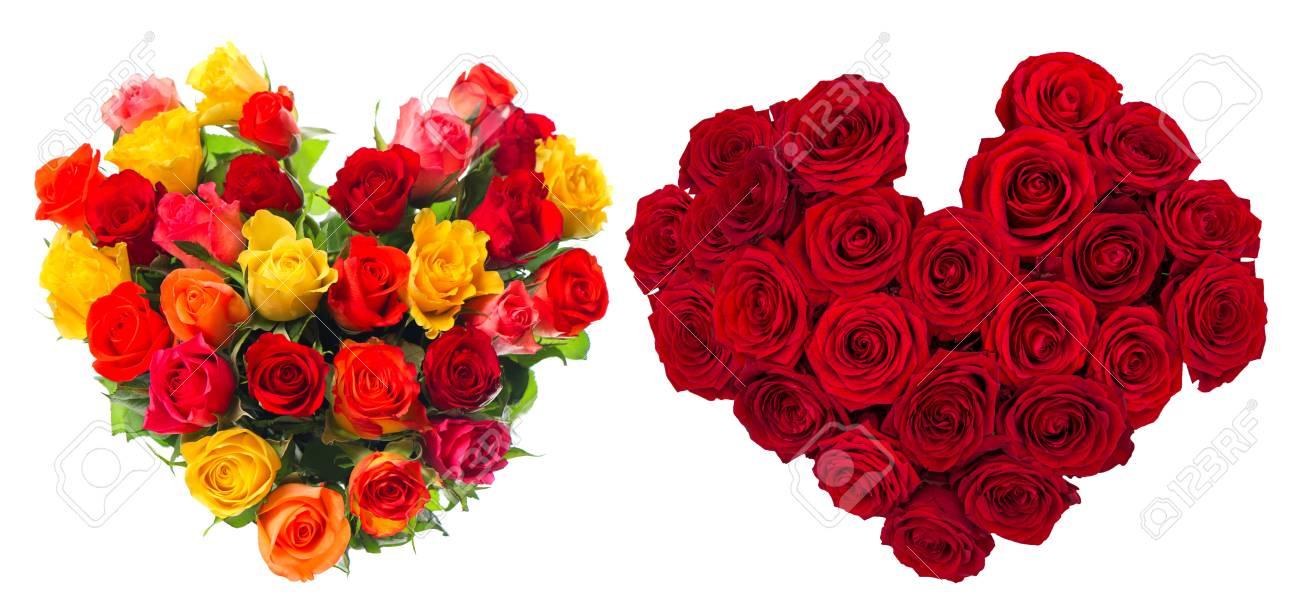 bouquet de fleurs roses en forme de coeur isolé sur fond blanc