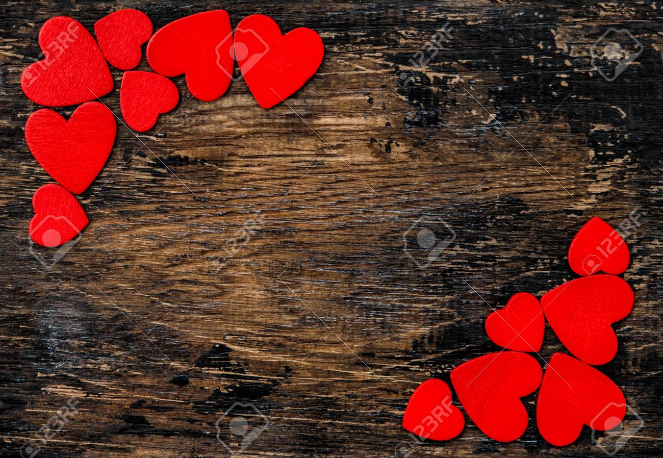 Red Hearts On Rustic Wooden Background Valentines Day Decoration