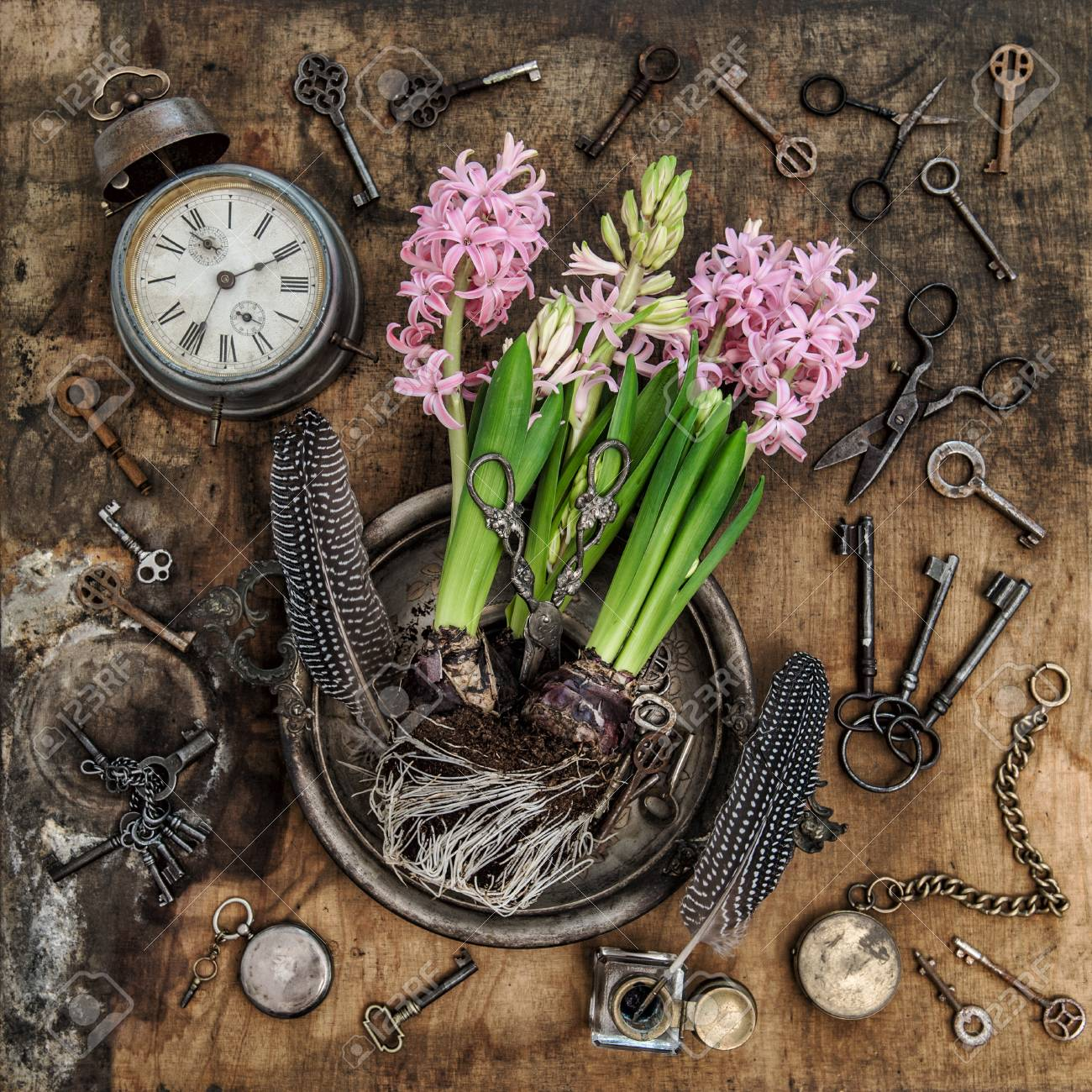 Vintage Still Life With Hyacinth Flowers Old Keys Clock Scissors