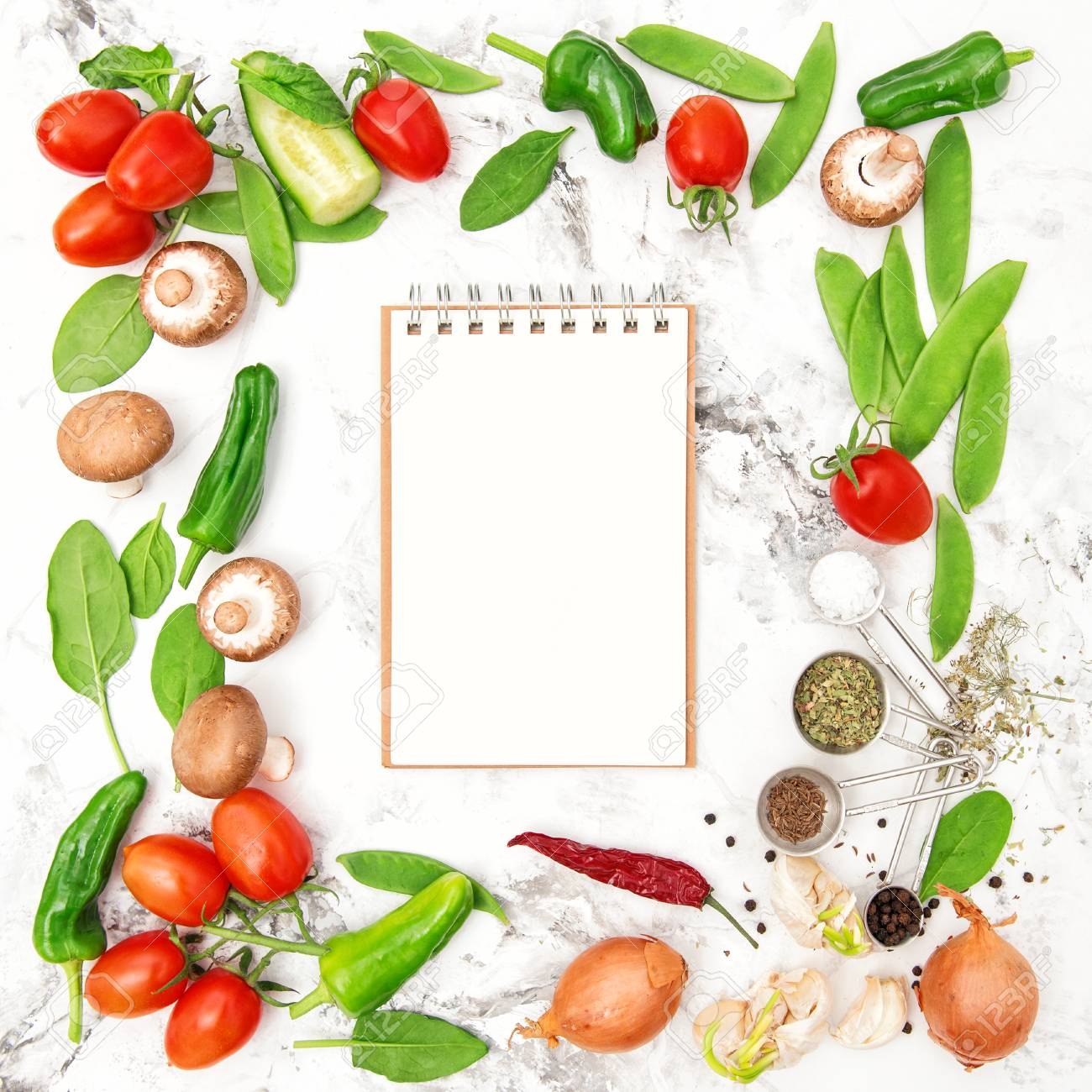 Recipe book fresh vegetables and spices healthy food cooking recipe book fresh vegetables and spices healthy food cooking organic nutrition stock forumfinder Images