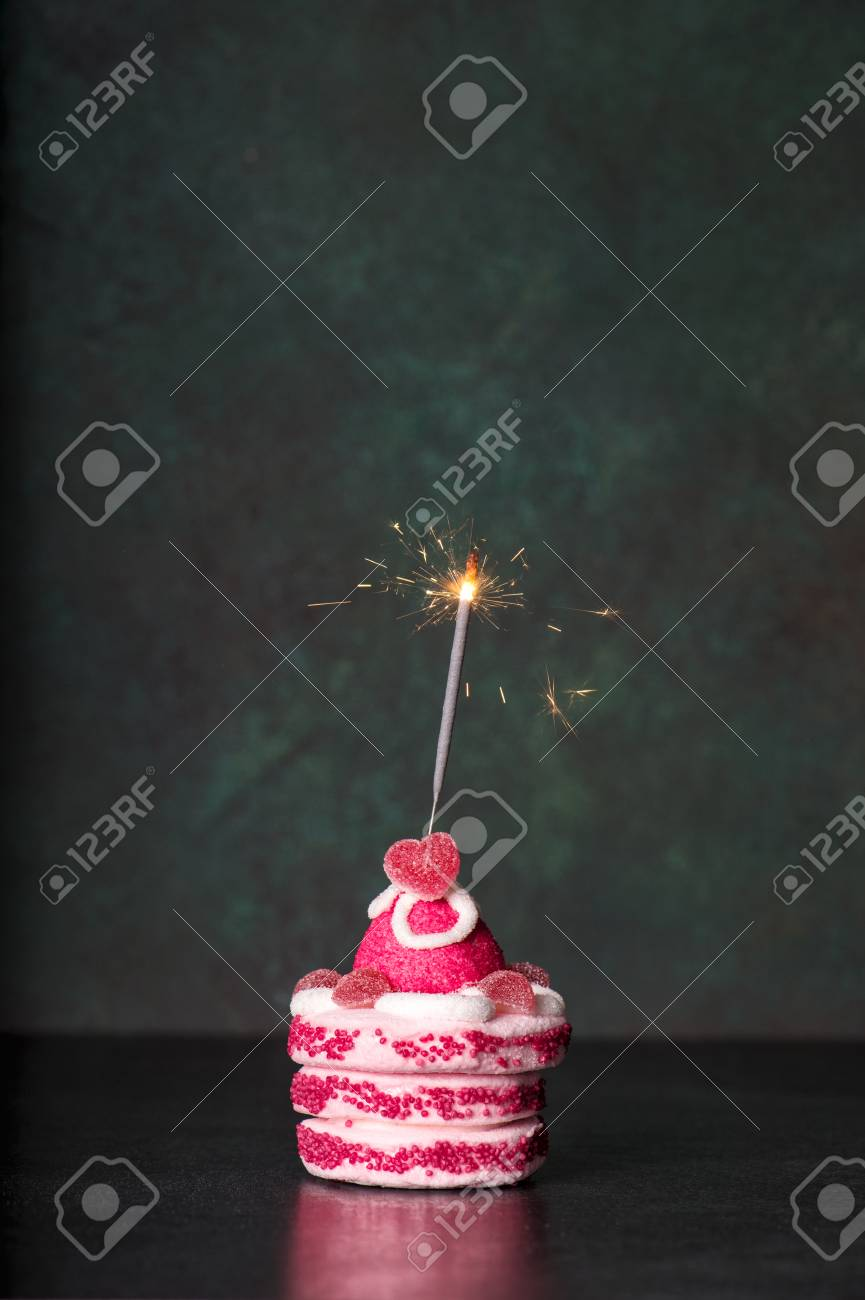 Birthday Cake With Sparkler On Dark Background Holidays Decoration Stock Photo