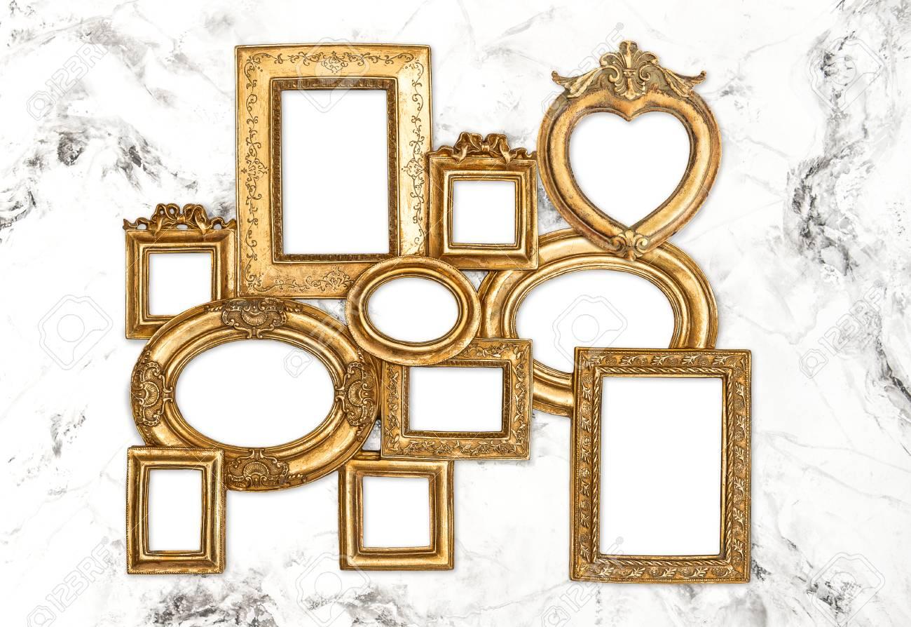 Goldener Rahmen Auf Marmorwandhintergrund. Leerer Barocker Rahmen ...