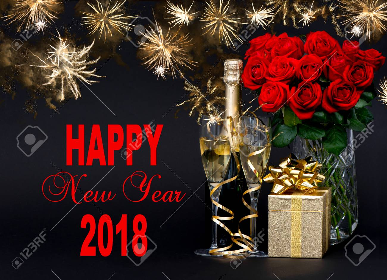 happy new year 2018 greetings card concept red roses bottle champagne golden