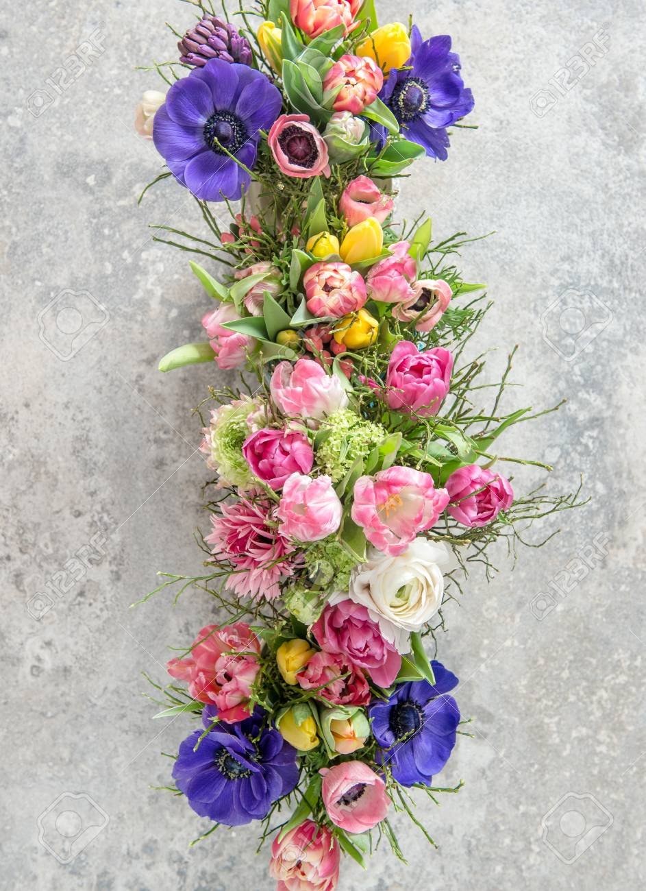 Spring Flowers Tulip Ranunculus Hyacinth Anemone Beautiful Stock Photo Picture And Royalty Free Image Image 97972993