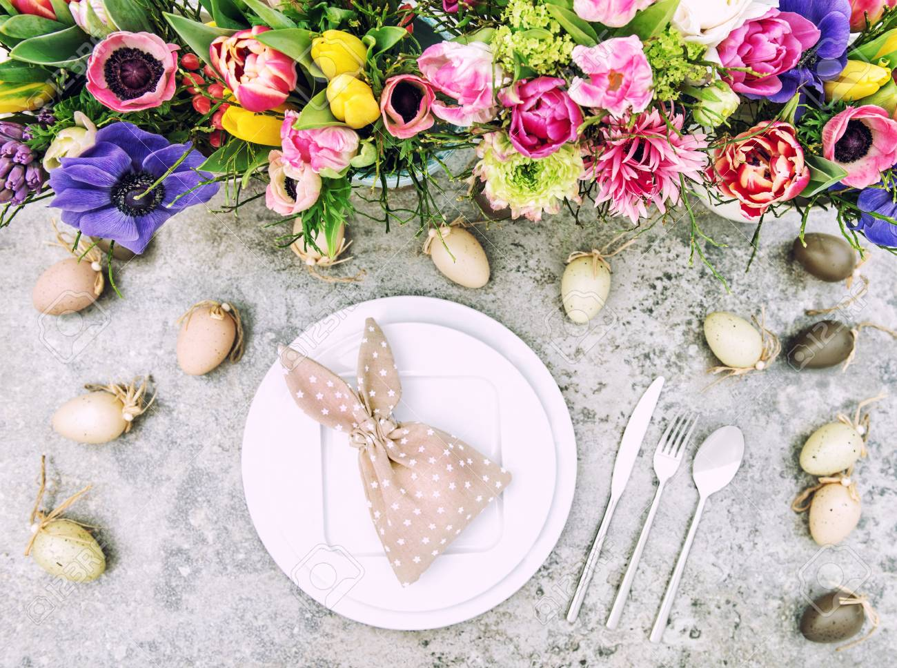 Table Decoration Spring Flowers And Easter Eggs Vintage Style Toned