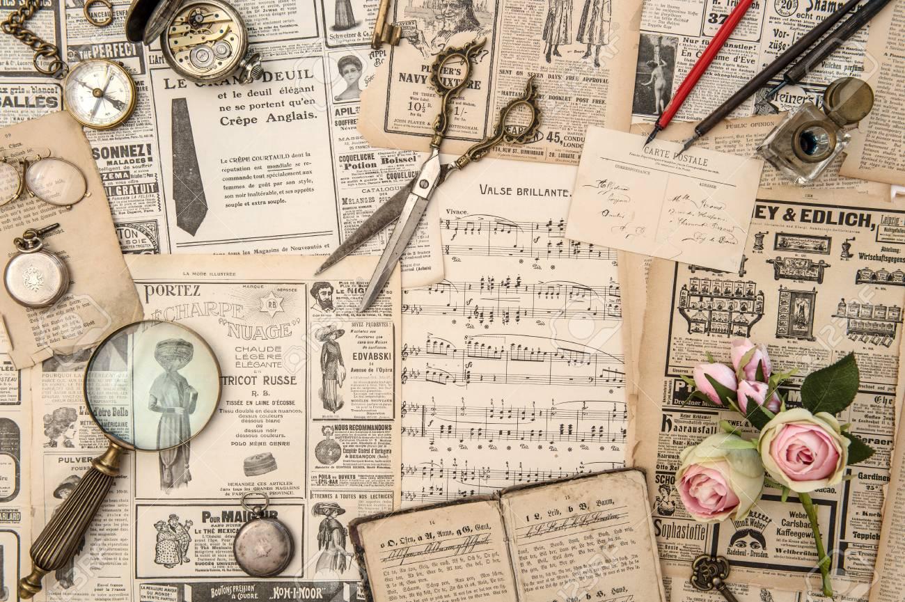 Antique Books Postcars Magazine Music Notes News Paper Flowers