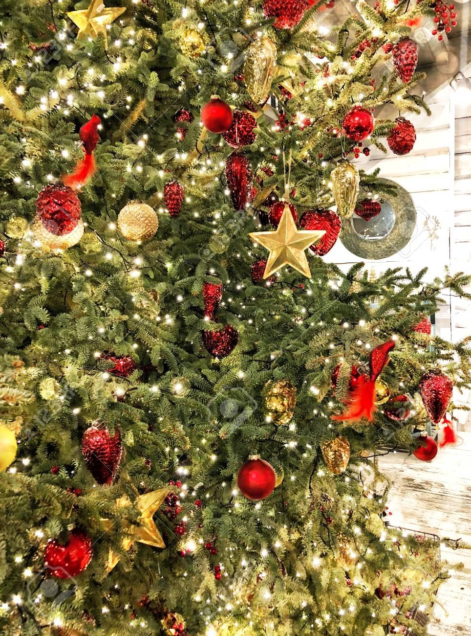 Vintage Style Christmas Ornaments.Christmas Tree Decoration Baubles Stars Ornaments Lights Vintage