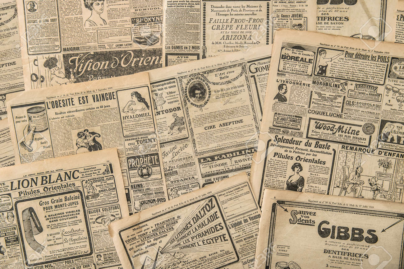 Newspaper pages with antique advertising. Vintage fashion magazine for woman - 153306186
