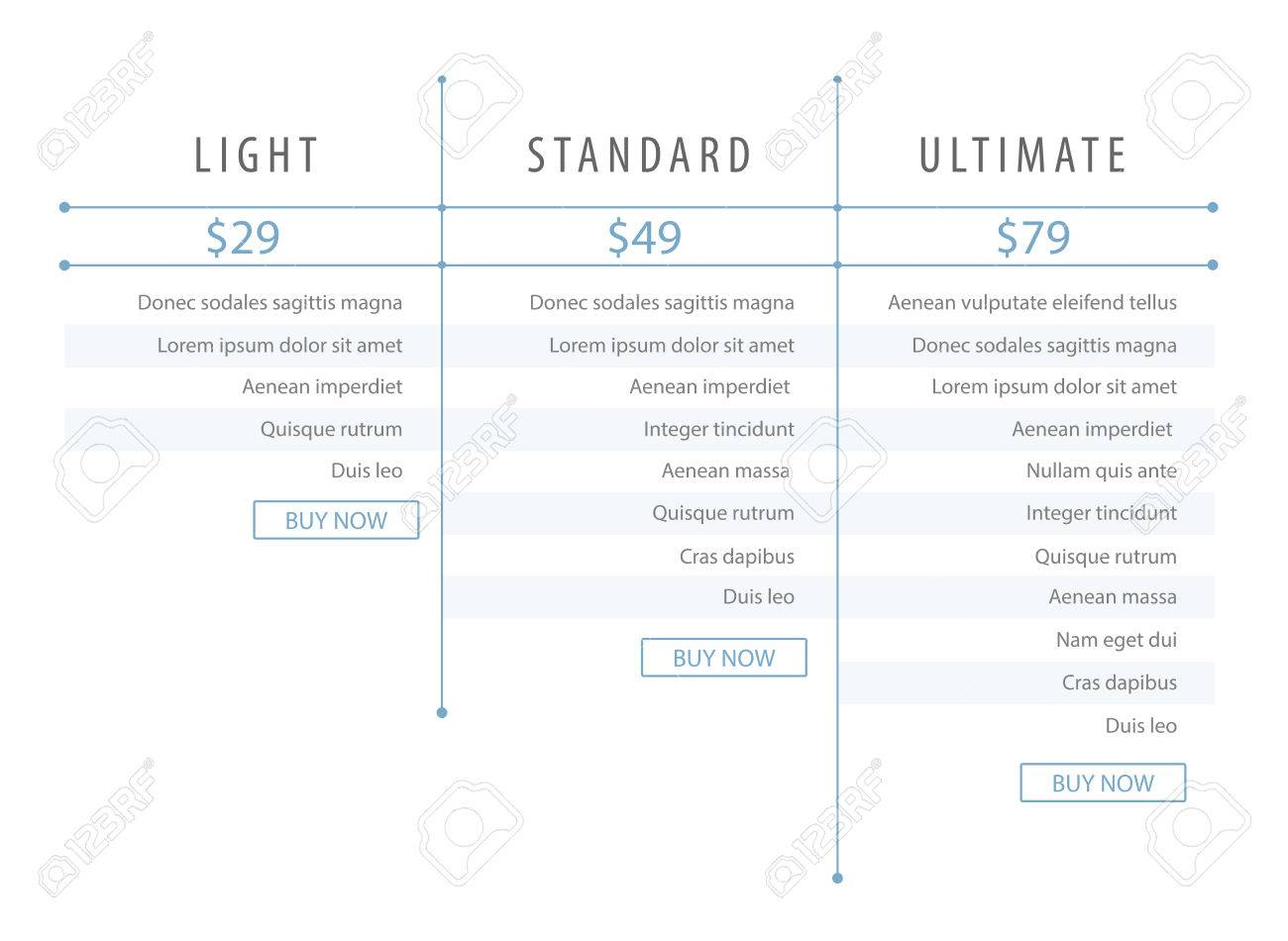 Minimalistic Modern Price List Template For The Website Web