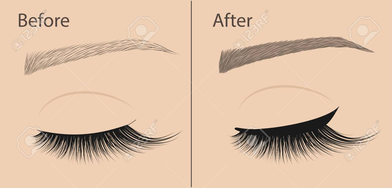 Permanent Makeup Eyeliner And Correction Eyebrow Shaping Before