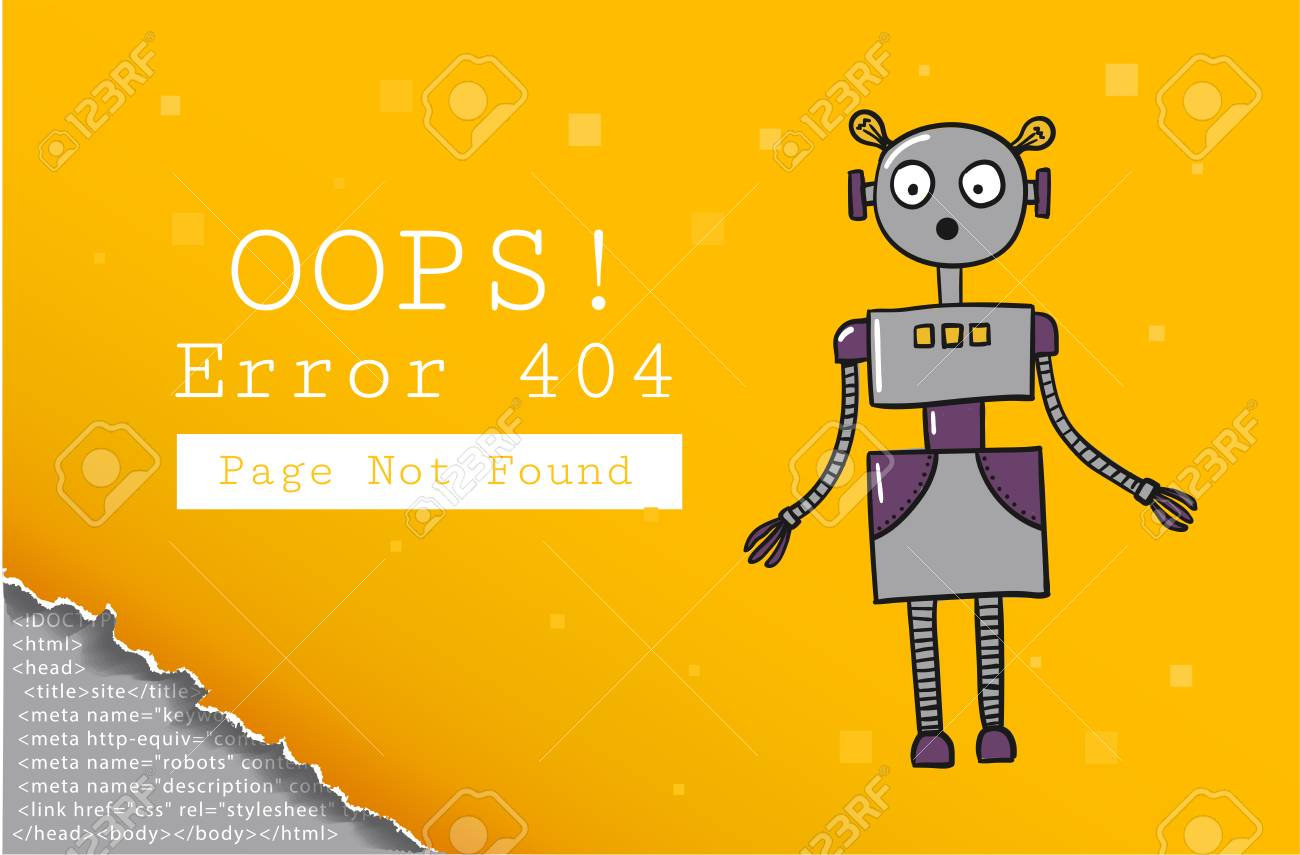 Error 404 Page Not Found Design Template With Text And Robot