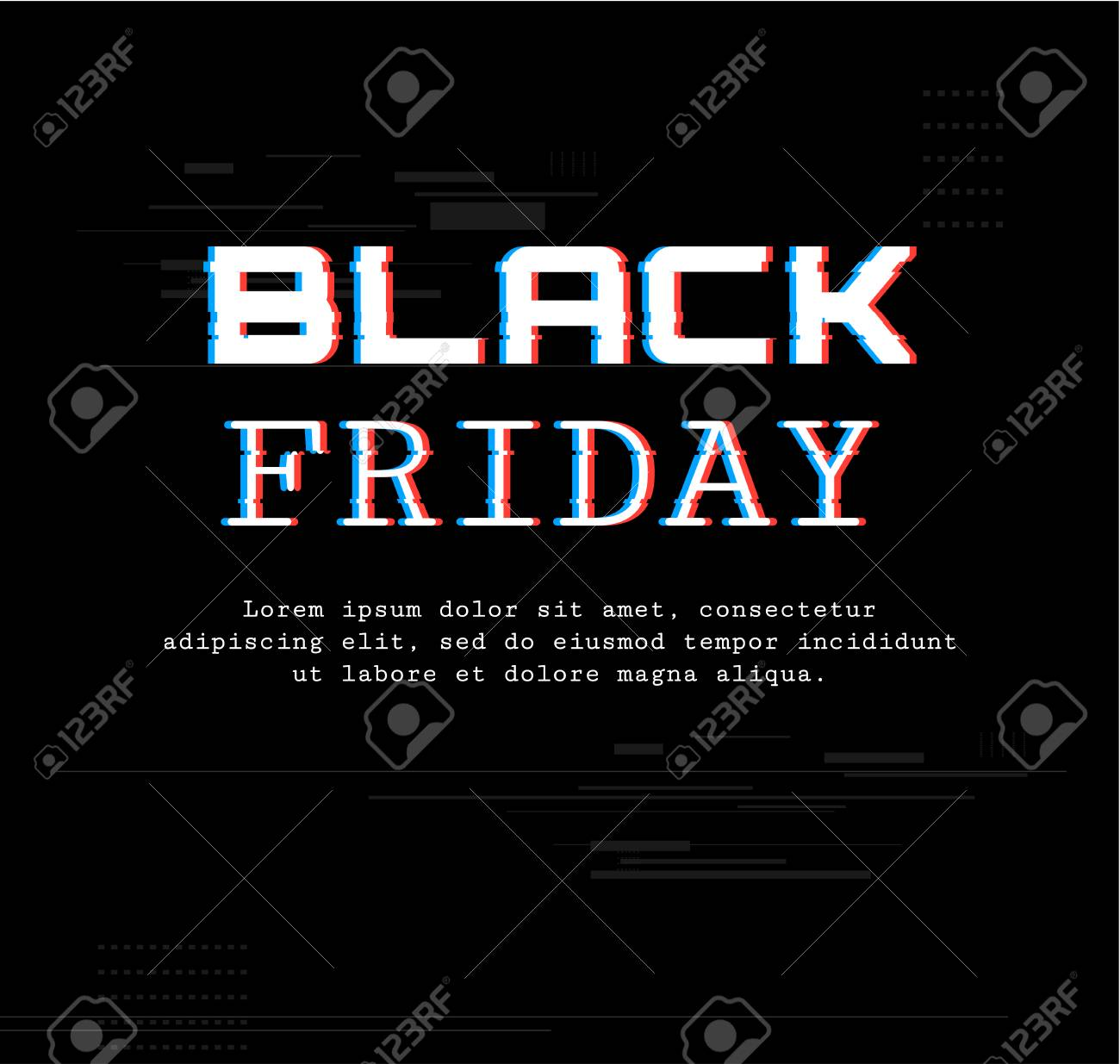 black friday template banner with trend glitch effect sale royalty