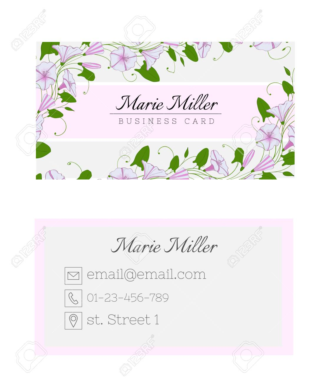 Floral business card template. Elegant feminine design with flowers binweed and convolvulus. Pastel color - 110078595