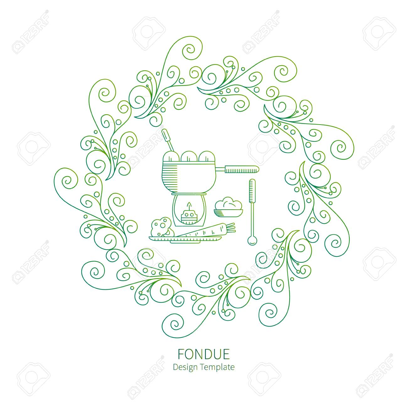 Fondue Party. Vector Labels In Trendy Linear Style On Isolated ...